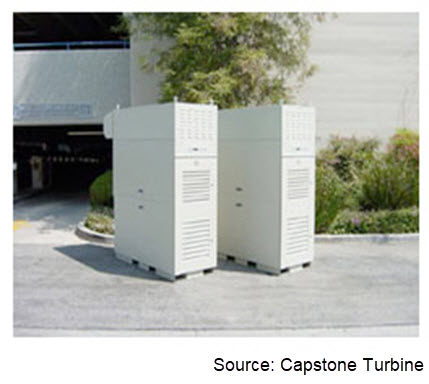 Photograph of two microturbines from Capstone Turbine.