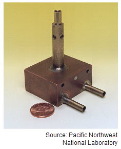 Photograph of a PNNL MicroHeater next to a penny for scale. The depth of the heater is about twice the size of the penny.