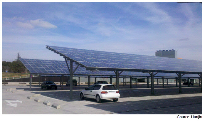 Photograph of a solar canopy in a parking lot. The solar panels are providing shade for cars.
