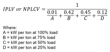 This is an image of the equation for part-load efficiency, which equals the inverse of the sum of four fractions: 0.01 divided by A, 0.42 divided by B, 0.45 divided by C, and 0.12 divided by D. A, B, C, and D are the kW per ton rating at 100%, 75%, 50%, and 25% load respectively.