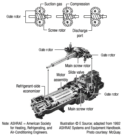 This diagram illustrates that two gate rotors sit on either side of the main rotor in the back of a compressor. On the front of the compressor there is an economizer and motor assembly.