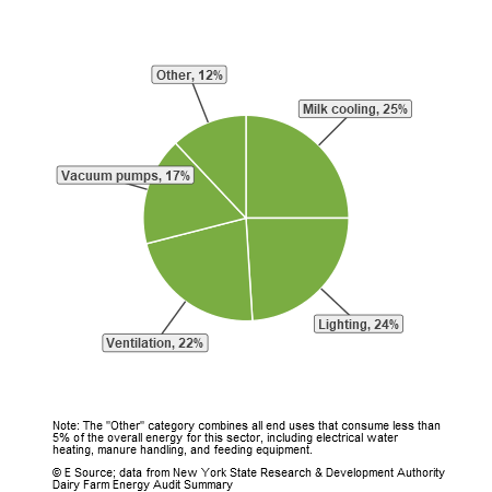 A pie chart showing total energy end uses for dairy farms: milk cooling, 25%; lighting, 24%; ventilation, 22%; vacuum pumps, 17%; and other uses, 12%.