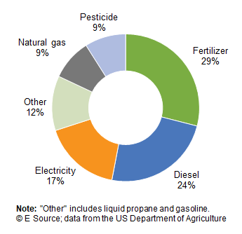 A pie chart showing total energy consumption for agriculture: fertilizers, 29%; diesel, 24%; electricity, 17%; other, 12%; natural gas, 9%; pesticide, 9%